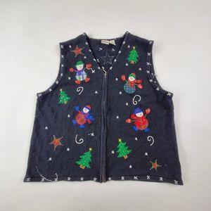Erika Woman Ugly Christmas Sweater Cardigan Vest